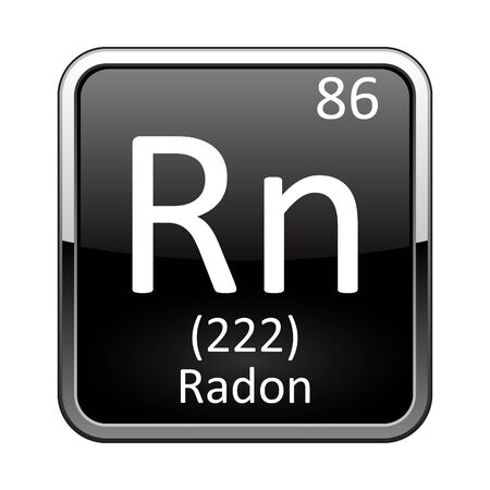 Radon symbol.Chemical element of the periodic table on a glossy black background in a silver frame.Vector illustration.