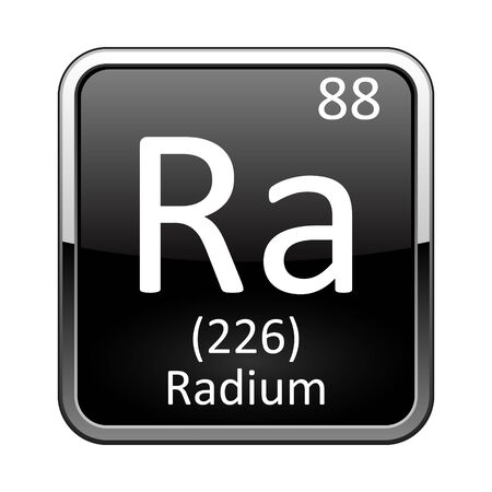 Radium symbol.Chemical element of the periodic table on a glossy black background in a silver frame.Vector illustration.