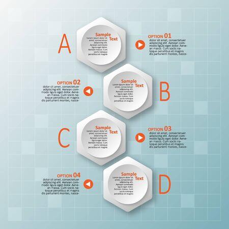 Éléments d'infographie en papier 3d abstrait vectoriel. Infographie hexagonale. Conception en nid d'abeille Vecteurs