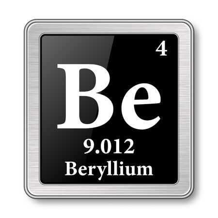 Beryllium symbol.Chemical element of the periodic table on a glossy black background in a silver frame.Vector illustration.