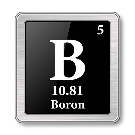 Boron symbol.Chemical element of the periodic table on a glossy black background in a silver frame.Vector illustration.