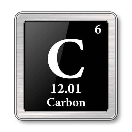Carbon symbol.Chemical element of the periodic table on a glossy black background in a silver frame.Vector illustration. Ilustrace