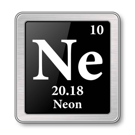Neon symbol.Chemical element of the periodic table on a glossy black background in a silver frame.illustration. Ilustrace