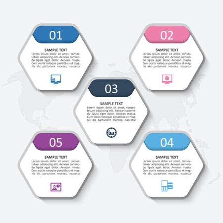 vector abstract 3d paper infographic elements.Hexagon infographics.Honeycomb design Ilustrace