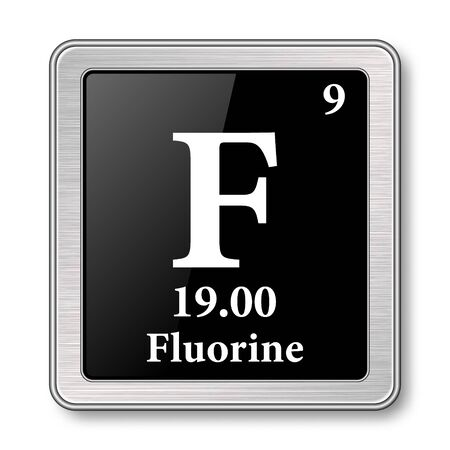 Fluorine symbol.Chemical element of the periodic table on a glossy black background in a silver frame.Vector illustration.