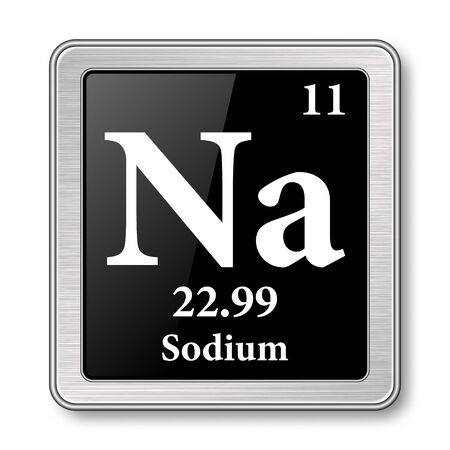 Sodium symbol.Chemical element of the periodic table on a glossy black background in a silver frame.illustration. Ilustrace