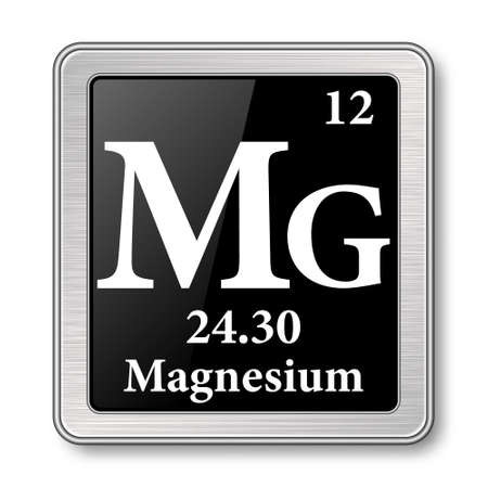 Magnesium symbol.Chemical element of the periodic table on a glossy black background in a silver frame.Vector illustration.