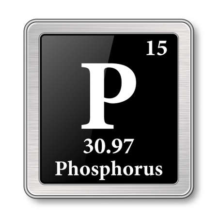 Phosphorus symbol.Chemical element of the periodic table on a glossy black background in a silver frame.Vector illustration.
