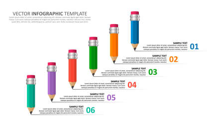 vector abstract 3d paper infographic elements.Business infographics.Infographics with pencils