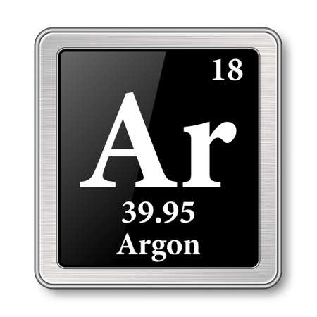 Argon symbol.Chemical element of the periodic table on a glossy black background in a silver frame.Vector illustration.
