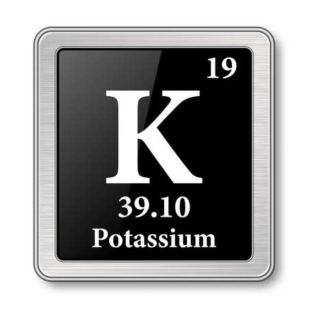 Potassium symbol.Chemical element of the periodic table on a glossy black background in a silver frame.Vector illustration.