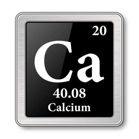 Calcium symbol.Chemical element of the periodic table on a glossy black background in a silver frame.Vector illustration.