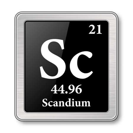 Scandium symbol.Chemical element of the periodic table on a glossy black background in a silver frame.Vector illustration.