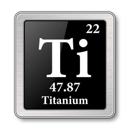 Titanium symbol.Chemical element of the periodic table on a glossy black background in a silver frame.Vector illustration.