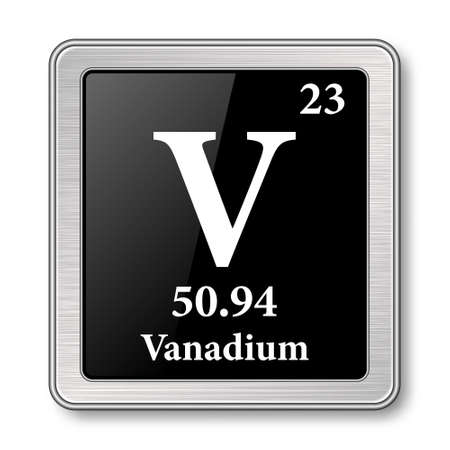 Vanadium symbol.Chemical element of the periodic table on a glossy black background in a silver frame.Vector illustration. Ilustrace