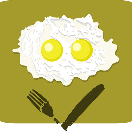 grumpy: Illustration of double fried egg with grumpy face on the white background isolated