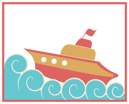 Illustration of colorful orange and red toy ship in the ocean. Curly waves around. For kids, wallpaper, background. Illustration