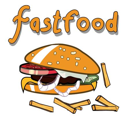 sesame: Vector image of tasty burger with fries. Isolated. Fastfood poster.