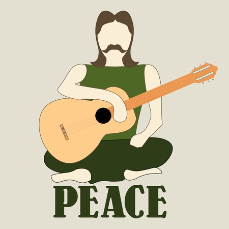 crosslegged: Vector illustration of cross-legged hippie man with guitar sign of peace and pacifism colorful Illustration
