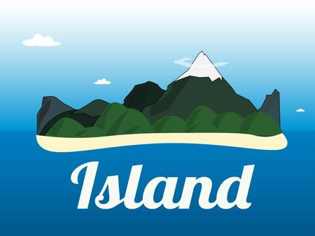 small flock: Cartoon illustration of the small mountains island landscape in the ocean.