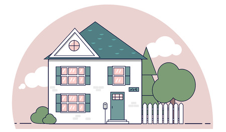 House suburban line flat design design for any purposes. Isolated vector on white background with fence and trees on backyard