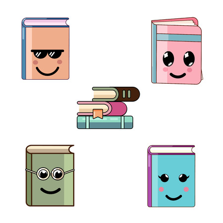 Cute cartoon book characters with different emotions. Vector modern flat kawaii icons set isolated on white background.