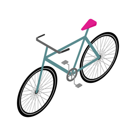Isometric Bicycle Icon Isolated on White Background. Travel and Eco Transport Concept Vector Illustration in Modern Flat Style.