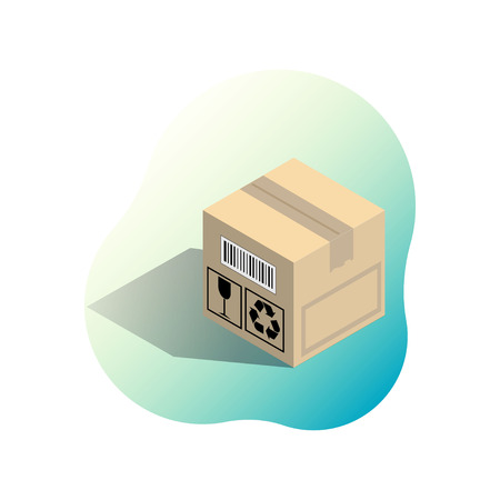 Cardboard corrugated box with shadow on bright gradient spot. Shipping icon for online store. Isometric vector illustration isolated on white background.