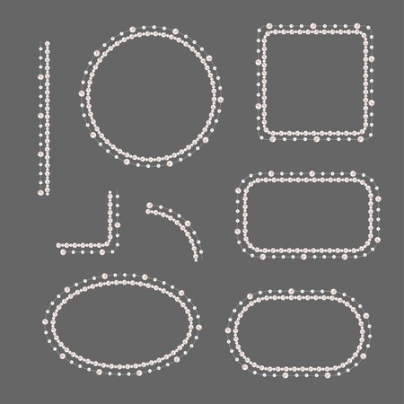Set of pearl frames isolated on gray background. Vector elements for wedding decoration, banners, cards, invitation. Elegant cream pearls borders and corners.