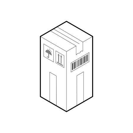 Outline box icon. Cardboard corrugated box, closed and sealed. Isometric vector isolated on white background.