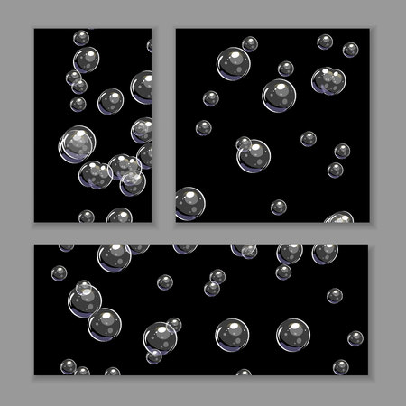 Set of various bubble backgrounds. Transparent bubbles on black. Vector template isolated on gray.