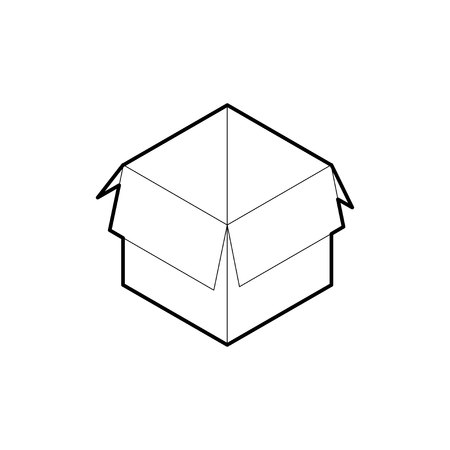 Outline box icon. Empty cardboard corrugated box with 4 top flaps open. Isometric vector isolated on white background.