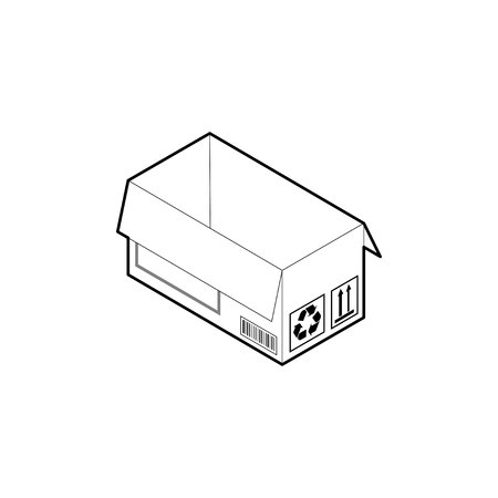 Outline box icon. Empty cardboard corrugated box with 2 top flaps open. Isometric vector isolated on white background.