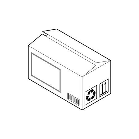 Outline icon of wide cardboard box. Empty corrugated box with two almost closed flaps. Isometric vector isolated on white background.