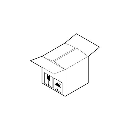 Outline cardboard box icon. Empty corrugated box with two open and two closed flaps. Isometric vector isolated on white background. Vettoriali