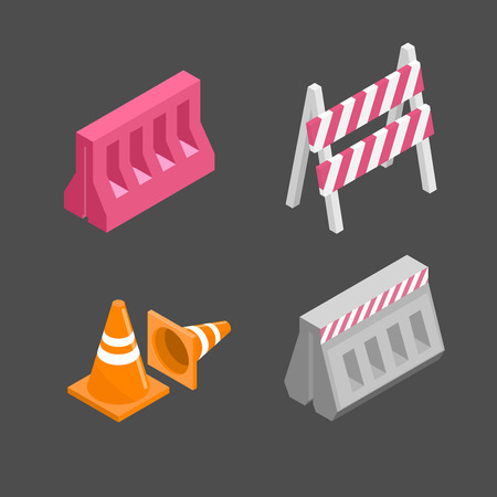 Set of traffic barriers for road repair. Under construction signs. Isometric vector illustration. Stock Illustratie