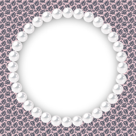 Pearl frame on textured background. Template for wedding, invitaion or greeting card. Vector illustration. Stock Vector - 129495444