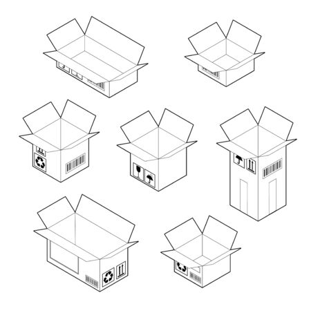 Box icon set. Outline empty cardboard corrugated boxes with four top flaps open. Isometric vector isolated on white background.