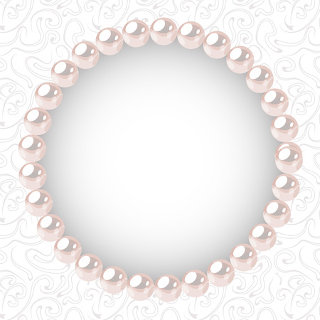 Pearl frame on textured background. Template for wedding, invitaion or greeting card. Vector illustration.