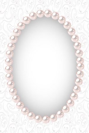 Pearl oval frame on textured background. Template for wedding, invitaion or greeting card. Vector illustration.
