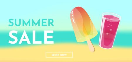 Hello summer. Banner, flyer or poster template. ice cream and glass of juice on seashore background. Vector illustration.