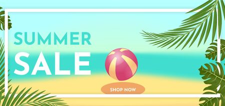 Summer sale banner template with tropic leaves. Hot offer concept. Vector illustration. Illustration
