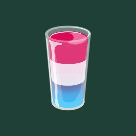 Cocktail shot glass of three layered jelly isolated on dark background. 向量圖像