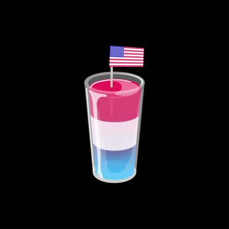 Cocktail shot glass of three layered jelly with american flag isolated on black background.