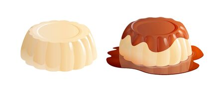 Panna cotta dessert with and without caramel sauce. Vector illustration isolated on white background.