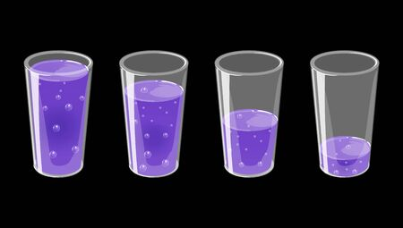 Set of glasses with fresh sparkling juice. Full and empty. Vector illustration isolated on black background.
