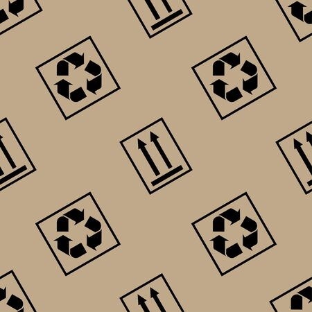 Packaging paper pattern with packaging symbols. Background for shipping or delivering concept.