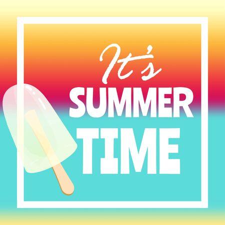 Summer time banner, flyer or poster. Vector illustration with text inside white frame.