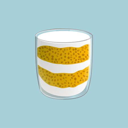 Chia seed pudding. Healthy vegan snack in glass with mango and cream. Vector illstration isolated on blue background. Standard-Bild - 129495507