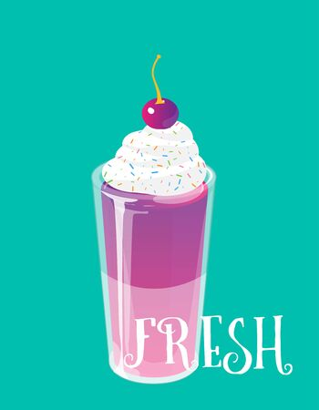 Cocktail jelly shot with cream and cherry on top. Fresh sweet drink ads concept. Vector illustration. 向量圖像